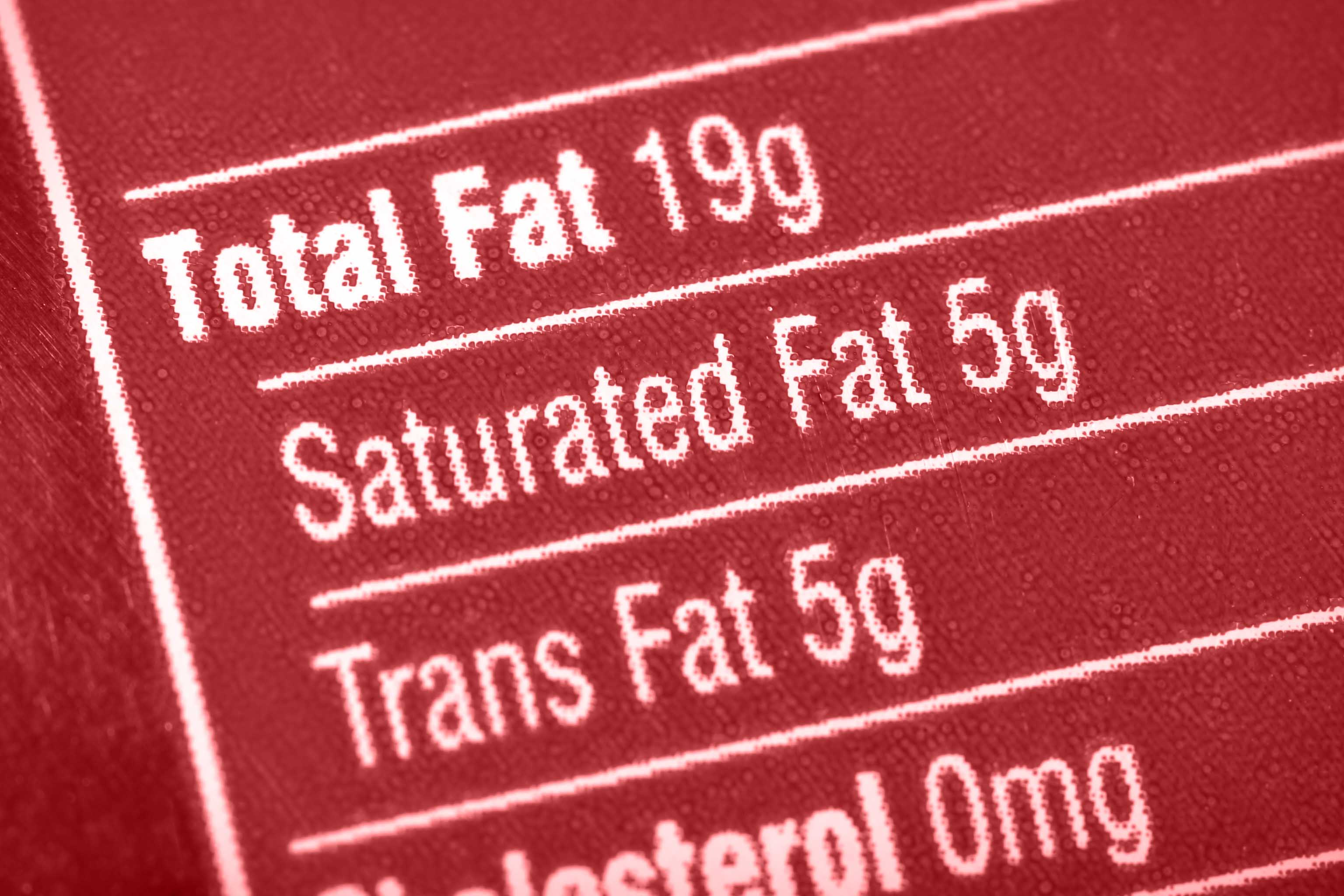 Nutritional label with a focus on fats.